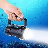 Tauchlicht, IPX8 wasserdicht, 18000 lm, 500 m, helle Perlen, Unterwasser-Taschenlampe, bis 80 m wasserdicht, Tauch-Beleuchtung, Lampe, für Video, Fotografie, Taschenlampe mit Griffhalterung