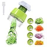 Aitsite Spiralschneider Hand für Gemüsespaghetti, 4 in1 Gemüse Spiralschneider, Gemüsehobel Spiralschneider Set für Karotte, Gurke, Kartoffel,Kürbis, Zucchini, Zwiebel(Grün)