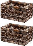 korb.outlet Stabiles Set / 2 Regalkorb mit Holzrahmen Schubfach aus echtem Rattan/Schübe Box zur Aufbewahrung Regalkorb Schrankkorb Griff (Mehrfarbig, 20x32x17)