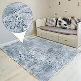 Amazinggirl Hochflor Teppich wohnzimmerteppich Langflor - Teppiche für Wohnzimmer flauschig Shaggy Schlafzimmer Bettvorleger Outdoor Carpet Silbern 160x230 cm