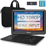 NAVISKAUTO 16' Tragbarer DVD Player HDMI Eingang HD 1080P 1366*768 6 Stdn. Akku 270°Drehbarer Portabler DVD Player Memory SD USB AV IN/OUT mit Handtasche