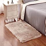 Faux Lammfell Schaffell Teppich 60 x 90 cm Lammfellimitat Teppich Longhair Fell Optik Nachahmung Wolle Bettvorleger Sofa Matte (Braun)
