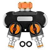Homitt 2-Wege-Verteiler, Y-Wege-Wasserschlauchanschluss, 3/4 Zoll Wasserschlauchadapter, Wasserhahnadapter mit 2 Dichtgummis