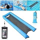 Laelr Aufblasbare Wasserhängematte, U-förmige Lilos Swimming Pool Float, tragbarer Druck von 200 kg (440 lb) Druck für Erwachsene und Kinder, wasserdichte Telefonhülle Schwimmende Handytasche