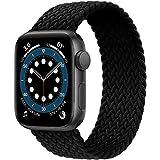 JONWIN Geflochtenes Solo Loop Kompatibel mit Apple Watch Armband 38mm 40mm,Dehnbare Verflochtenen Silikonfasern Sport Ersatzband für Nylon Band für iWatch Serie 6/5/4/3/2/1,SE,Damen,Herren,Black,7#