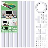 Kabelkanal Selbstklebend Weiss, 320cm PVC Kabelabdeckung, Kabelschacht zum verstecken von Kabel, TV Kabelkanal für alle Netzkabel in Haushalt/Büro, 8 Stück x L40cm*W3cm*H1,7cm, weiß