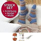 Socken Strick-Set für Anfänger von Myboshi, bestehend aus 1 Knäuel Lieblingsfarben Sockenwolle, 4-fädig und filzfrei (Frieda mit Stricknadeln)