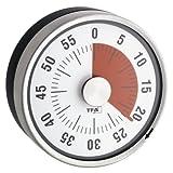 TFA Dostmann Analoger Timer Puck, 38.1028.10, Eieruhr, Küchentimer, mechanisch, zum Aufdrehen, magnetisch, grau