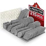 Möbelpads, 215 Stück, X-PROTECTOR, Beste Filzpolster für Möbel, Bodenschoner, Stuhlbeinschoner, Filz-Möbelfüße + 64 Gummistopper