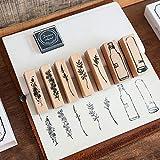 Lychii Holzstempel zum Basteln, 7 PCS Gummi Holz Vintage Holzstempel Hochzeit, Geschenkanhänger, Keksstempel Tischdeko, Natürliche Pflanze Boxed Seal Set (7 Pack)