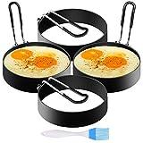 SYOSIN 4 Stück Spiegeleiformen, Pancake Form Edelstahl Antihaft Pfannkuchen Form Spiegeleiform für Bratpfanne Eierformer Einstellen