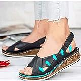 Damen Leder Sommer Schuhe Flache Weiche Strand Sandalen Römische Anti-Rutsch Open Toe Rom Schuhe Slingpumps Leichte Keilschuhe Damen Sommerschuhe,01,43