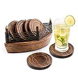 6er -Set handgefertigter Getränke-Untersetzer aus Holz: umweltfreundlich, saugfähig , mit antiker Optik.