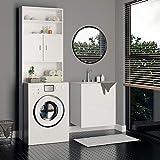 Waschmaschinenschrank Badezimmerschrank für Waschmaschine | 195 x 63 x 20 cm | Farbe: weiß | 3 Regalböden, davon 1 verstellbar