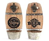 Wooden Wall Mounted Beer Barrel Keg Bottle Opener With Cap Catcher Home Bar Accessory Design Vary