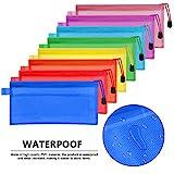FOCCTS 16 Stücke A6 23,5×11,5 cm Bleistiftbeutel Reißverschluss Datei Taschen wasserdichte Kunststoff Doppelschicht für Stift Tasche, Kosmetik Liefert,Reisezubehör Aufbewahrungsbeutel,8 Farben