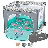Lionelo Sofie Laufstall Baby Reisebett Baby Laufgitter Baby Kinderreisebett ab Geburt bis zum 15 kg Tragetasche Moskitonetz Seiteneingang luftige Seitenwände (Türkis)