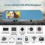 Leepesx 5' Android-Smart-System GPS Navigation Auto Rückspiegel DVR Doppellinse vorne hinten 1080P 720p-Kamera-Recorder mit G-Sensor-Motion Detection Nachtsicht