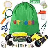 UTTORA Fernglas Kinder, Draussen Forscherset für Kinder 22 Stück Spielzeug Set mit Bug Catcher Pinzette Insect Viewer Kompass Lupe & Schmetterlingsnetz für Camping und Outdoor-Sport