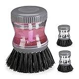 Relaxdays Spülbürste mit Spülmittelspender, 3er Set, 60 ml Tank zum Befüllen, rund, Geschirr reinigen, Spülhilfe, grau