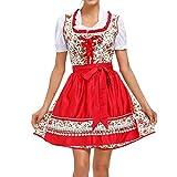 laamei Damen Bier Kostüm Kurz Rot Stickerei Trachten-Kleid Oktoberfest Spitze Kleid Traditionelles Bayerisches Bier Festival Cosplay Kostüme Kleid Set Dienstmädchen-Kostüm