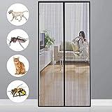 CHENG MagnetFliegengitterTürInsektenschutz 90x220cm Anti-Mosquito Insekt Hände frei, Automatisches Schließen, Fliegengitter Magnetvorhang für Türen, Passt Türgröße bis zu - Black