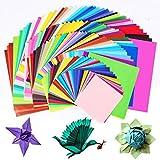 Origami-Papier,BCMRUN 200 Blatt Doppelseitiges Origami Papier in 50 verschiedenen Farben 4 Größen DIY Handwerk Papierkran für Kunst und Handwerk Projekt