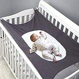 MQUPIN Baby-Hängematte für Babybett, erweitertes Design mit 4 stabilen Sicherheitsschnallen, atmungsaktiv, hautfreundlich, Netzstoff, faltbar, waschbar, Schlafkomfort