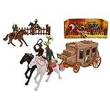 Toyland Wilder Westen Cowboy & Postkutsche Spielset - Enthält 4 Pferde, 4 Reiter, Zäune und Postkutsche