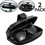 2 Packungen Auto Brillenhalter Sonnenblende Brillenetui, Universal Automotive ABS Brillenhalter Schutzbox Clip Brillen Hartschalen-Aufbewahrungsorganisator mit Magnetverschluss, 2 Kreditkartenschlitze