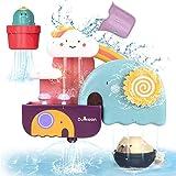 GILOBABY Kinder badespielzeug, Badewannenspielzeug mit Tasse, Bär und Kaktus Spielzeug,Wasserspielzeug Geschenk für Junge Mädchen