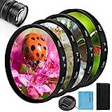 58mm Close-up Nahlinsen Filter Kit, Fotover 4 Stück (+ 1, 2, 4, 10) Makrolinsen Zubehör Close-up Objektiv Filter Set mit Filter Tasche für Canon Nikon Sony Pentax Olympus Fuji DSLR Kamera