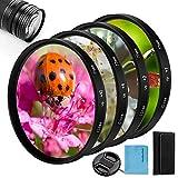 Nahaufnahme-Filter-Set, Fotover, 4-teilig, (+1, 2, 4, 10) Makrofilter-Zubehör, Nahlinsenfilter-Set mit Objektivfilter-Tasche für Canon, Nikon, Sony, Pentax, Olympus, Fuji, DSLR-Kamera, Objektivdeckel