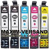 5 Patronen ersetzen Multipack Epson 502 XL Set mit Chips - kompatible Tintenpatronen für Epson Workforce WF-2860DWF WF-2865DWF sowie Epson Expression Home XP-5100 XP-5105 XP-5115