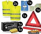 TK Gruppe Timo Klingler 7 in 1 Sicherheitsset 2020 Auto KFZ Warnweste, Warndreieck, Verbandskasten, Parkscheibe, Etui- Pannenset, Rettungsdecke - Erste Hilfe bei Unfall (Unfall Set mit Warndreieck)