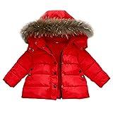 FeiliandaJJ Baby Mantel,Infant Toddler Mädchen Junge Winter Daunenjacke Kapuzenjacke Outwear Kinder Pelzkragen mit Reißverschluss Coat Warme Kleidung (80 (0~12Monate), Rot)