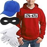 Shirtgeil Panzerknacker Banditen Kostüm Hoodie + MÜTZE + Maske + Handschuhe Kapuzenpullover Hoodie XX-Large Rot