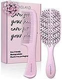 Detangling Haarbürste und Kamm Set – Entwirrungsbürste für nasses, trockenes, lockiges, Frauen- & Kinderhaar mit Kamm – Öko Haarbürsten Set von Lily England (Pink)