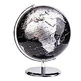 Exerz Metallisch Globus (Durchmesser: 20 cm) - Pädagogisch/Geografisch/Dekoration - Mit einem Metallfuß - in Englischer Sprache (20CM Metallisches Schwarz)