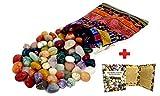 Edelstein-Set 'Colludo' | Natürliche Trommelsteine in verschiedenen Größen | Praktisch im bunten Stoffbeutel | Ideal für Kinder, zur Dekoration, als Heilsteine & Handschmeichler, Edelsteinspiele uvm.