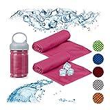 Relaxdays Unisex– Erwachsene Handtuc Kühlendes Handtuch, 2er Pack, Mikrofaser, Kühltücher Hals, Sport & Fitness, Kühlhandtuch, 90 x 30 cm, pink, 2 Stück