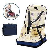 Animateness Zusammenklappbar Klappbar Tragbar Abwaschbar Reisehochstuhl, Sitzerhöhung, Kinderstuhl Essen, Kindersitz Esstisch mit Sicherheitsgurt Sitzgurt für Kleinkind Babys Reisetasche (Gelb)