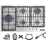 Phönix PS-905L Gaskochfeld Einbau Kochfeld Edelstahl Gaskocher 5 Kochplatten autark (freistehend- / Einbau- Gaskochfeld) inkl. Gasschlauch-Regler Set für Propangasflaschen