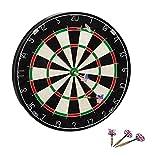 Relaxdays Dartscheibe Bristle Board X4 mit Pfeilen, 45 cm, 6 Pfeile, Steeldarts, Naturfaser Dartboard klassisch, schwarz