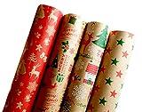 Premium Weihnachstgeschenkpapier Geschenkpapier Retro Ökologisches Recycling Papier 4 Rollen a`2m x 70cm Natur Geschenkverpackung für Weihnachten Geburtstag Kraftpapier