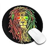 Jamaica Rasta Lion Sonnenglas Mousepad Rutschfeste Gummi Gaming Mouse Pad Runde Mauspads Für Computer Laptop 20Cm