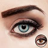aricona Kontaktlinsen ohne Stärke   Premium   intensiv türkisblau-farbige Jahreslinsen - 2er Pack