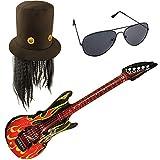 German Trendseller® Guitar Hero - Kostüm - Set Deluxe ┃Rockstar Hut + Haare + Flammen Gitarre + Brille ┃ Karneval ┃ Mini Rockstar Set