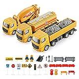 Geyiie Legierung Bagger Lastwagen Autos 6er Set Fahrzeugset,Kleinkind Baustelle Spielzeug ab 3 Jahren