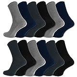 12 Paar Socken ohne Gummidruck 100% Baumwolle Damen & Herren Diabetiker Socken (43-46, Schwarz/Blau/Grau)